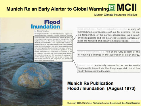 From a powerpoint by Munich Re's Peter Hoeppe.  Munich Re publication from 1973 warning of impacts of extreme events due to climate change.