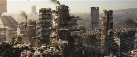 Los Angeles, in the year 2154, as depicted in the Cli-Fi movie Elysium.