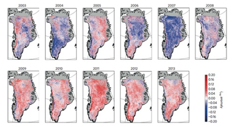 Evolution of impurity index. Map of impurity index iimp anomaly averaged over the May–June period. The anomaly is calculated with respect to the 2003–2013 average. The grey areas correspond to pixels outside the ice sheet or with insufficient high-quality data. Only data from 16 May to 26 June were used, to eliminate artefacts due to low solar elevation