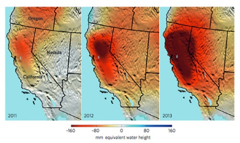 Figure 1 | NASA's Gravity Recovery and Climate Experiment (GRACE) satellite mission is providing new, space-based insights into the global nature of groundwater depletion 3–5 . The ongoing California drought is evident in these maps of dry season (September–November) total water storage anomalies (in mm equivalent water height; anomalies with respect to 2005–2010) in the western United States. The maps were constructed using GRACE Mascons solutions from NASA's Jet Propulsion Laboratory (M. M. Watkins, D. N. Wiese, D.-N. Yuan, C. Boening and F. W. Landerer, unpublished results). California's Sacramento and San Joaquin river basins have lost roughly 15 km 3 of total water per year since 2011 — more water than all 38 million Californians use for domestic and municipal supplies annually — over half of which is due to groundwater pumping in the Central Valley 3,5 . Image: Felix W. Landerer, NASA Jet Propulsion Laboratory, California Institute of Technology, USA