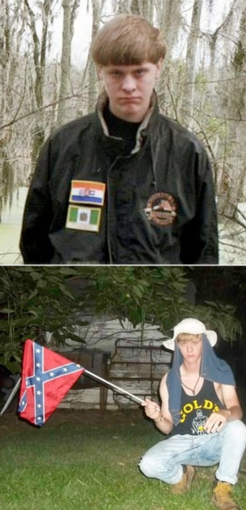 Who could possibly guess his motivations? I'm not a psychologist... Dylann Storm Roof wearing a jacket with the flags of apartheid-era South Africa, top, and Rhodesia, as modern-day Zimbabwe was called during a period of white rule. Below, with the Confederate flag.