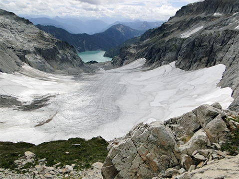 Upper portion of Columbia Glacier on Aug. 5, 2015 note lack of snowcover and all previous firn layers (firn is snow that survived a melt season but is not yet glacier ice).